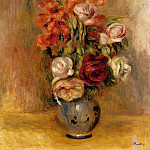 Pierre-Auguste Renoir - Vase of Gladiolas and Roses - 1909