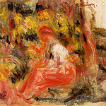 Young Girl Seated in a Garden, Pierre-Auguste Renoir