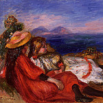 Two Little Girls on the Beach – 1895, Pierre-Auguste Renoir