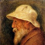 Self Portrait with a White Hat - 1910, Pierre-Auguste Renoir