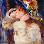 Young Girl in a Hat Decorated with Wildflowers - 1880, Pierre-Auguste Renoir