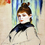 Young Woman with a Bun in Her Hair - 1882, Pierre-Auguste Renoir
