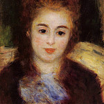 Head of a Young Woman Wearing a Blue Scarf - 1876, Pierre-Auguste Renoir