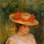 Пьер Огюст Ренуар - Young Woman in a Straw Hat - 1901