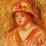 Пьер Огюст Ренуар - Bust of a Young Girl in a Straw Hat - 1917
