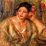 Madeleine Leaning on Her Elbow with Flowers in Her Hair - 1918, Pierre-Auguste Renoir