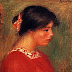 Head of a Woman in Red - 1909, Pierre-Auguste Renoir