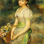 Young Girl with a Basket of Flowers – 1888, Pierre-Auguste Renoir