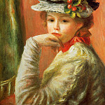 Young Girl in a White Hat - 1892, Pierre-Auguste Renoir