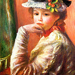 Пьер Огюст Ренуар - Young Girl in a White Hat (also known as Woman Leaning on Her Hand) - 1892