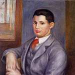 Young Man in a Red Tie, Portrait of Eugene Renoir - 1890 , Pierre-Auguste Renoir