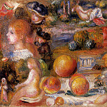 Studies - Womans Heads, Nudes, Landscapes and Peaches - 1895- 1896, Pierre-Auguste Renoir