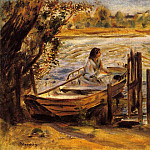 Пьер Огюст Ренуар - Young Woman in a Boat (also known as Lise Trehot) - 1870