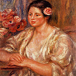 Madelaine in a White Blouse and a Bouquet of Flowers - 1918, Pierre-Auguste Renoir