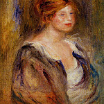Young Girl in Blue , Pierre-Auguste Renoir