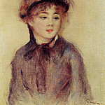 Пьер Огюст Ренуар - Bust of a Woman Wearing a Hat - 1881