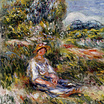 Young Girl Seated in a Meadow - 1916, Pierre-Auguste Renoir