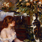 Girl and Cat - 1881 -1882, Pierre-Auguste Renoir