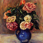 Пьер Огюст Ренуар - Roses in a Blue Vase - 1900