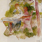 Пьер Огюст Ренуар - Woman and Child in a Garden (sketch) - 1880