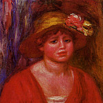 Bust of a Young Woman in a Red Blouse - 1915, Pierre-Auguste Renoir