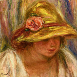 Пьер Огюст Ренуар - Study of a Woman in a Yellow Hat