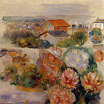 Pierre-Auguste Renoir - Landscape, Flowers and Little Girl