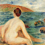 Nude Bather Seated by the Sea - 1882, Pierre-Auguste Renoir