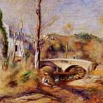 Landscape with Bridge - ок 1900, Pierre-Auguste Renoir
