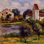 Breton Landscape - Church and Orchard, Pierre-Auguste Renoir