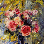 Bouquet of Roses in a Blue Vase - 1892, Pierre-Auguste Renoir