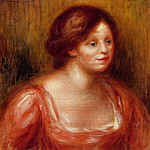 Bust of a Woman in a Red Blouse - 1905, Pierre-Auguste Renoir