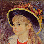 Young Girl in a Blue Hat - 1881, Pierre-Auguste Renoir