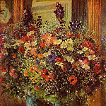 Bouquet in front of a Mirror - около 1876-1877, Pierre-Auguste Renoir