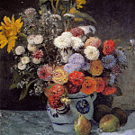 Mixed Flowers in an Earthenware Pot - 1869, Pierre-Auguste Renoir