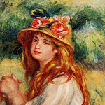 Blond in a Straw Hat , Pierre-Auguste Renoir