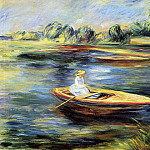 Young Woman Seated in a Rowboat, Pierre-Auguste Renoir