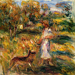 Woman in Blue and Zaza in a Landscape - 1919, Pierre-Auguste Renoir