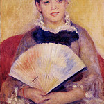 Girl with a Fan - 1880, Pierre-Auguste Renoir