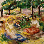 Three Young Girls Sitting in the Grass - 1896 - 1897, Pierre-Auguste Renoir