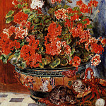 Geraniums and Cats, Pierre-Auguste Renoir
