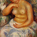 Seated Nude with a Bouquet - 1914-1915, Pierre-Auguste Renoir