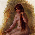 Pierre-Auguste Renoir - Seated Nude Combing Her Hair