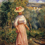 Young Woman in Red in the Fields - 1900, Pierre-Auguste Renoir