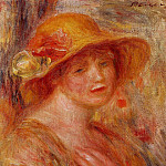 Woman in a Straw Hat - 1916 - 1918, Pierre-Auguste Renoir