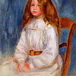 Seated Little Girl with a Blue Background - 1890, Pierre-Auguste Renoir
