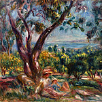 Cagnes Landscape with Woman and Child - 1910, Pierre-Auguste Renoir