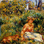 Young Woman in a Garden - 1916, Pierre-Auguste Renoir