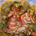 Two Women with Flowered Hat - 1915, Pierre-Auguste Renoir