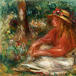Young Girl Seated on the Grass, Pierre-Auguste Renoir